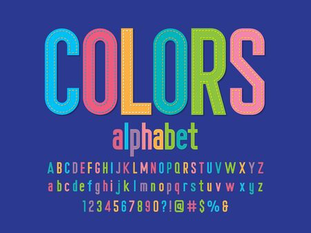 Vector of colorful stitched alphabet design