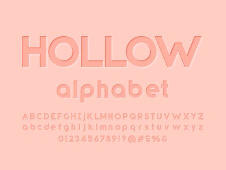 Modern embossed alphabet design with uppercase,lowercase, numbers and symbols