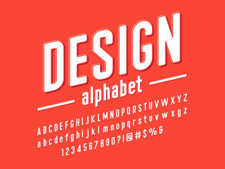 Modern embossed alphabet design with uppercase, lowercase, numbers and symbols Vector Illustration