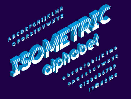 Isometric font with uppercase, lowercase, numbers and symbol 矢量图像
