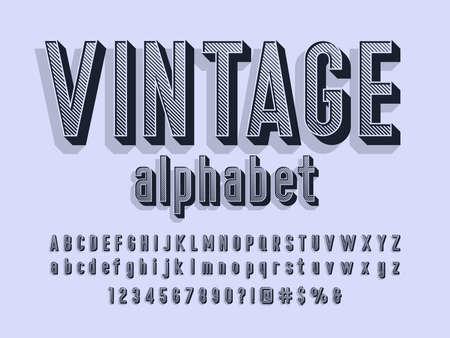 Vector of stylized retro alphabet design with uppercase, lowercase, numbers and symbols Vektoros illusztráció