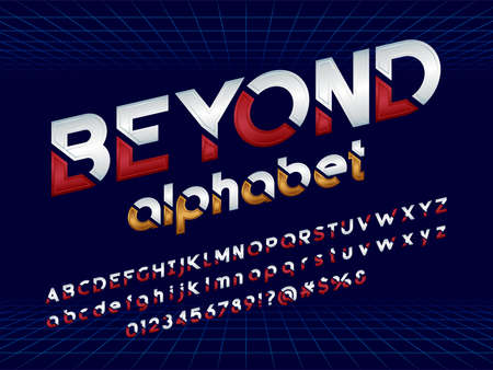 Futuristic display alphabet design with abstract background