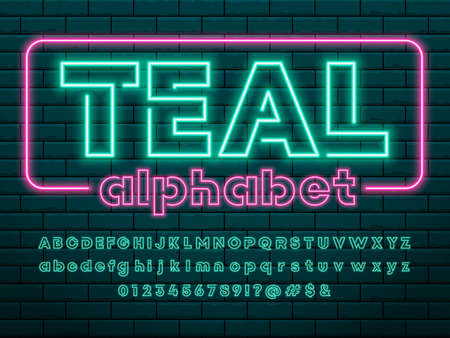 Glowing neon light alphabet design with uppercase, lowercase, numbers and symbols