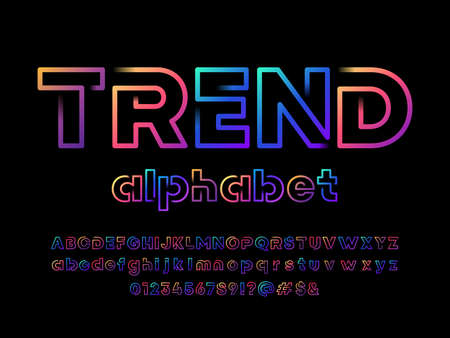 Colorful line style alphabet design with uppercase, lowercase, numbers and symbols