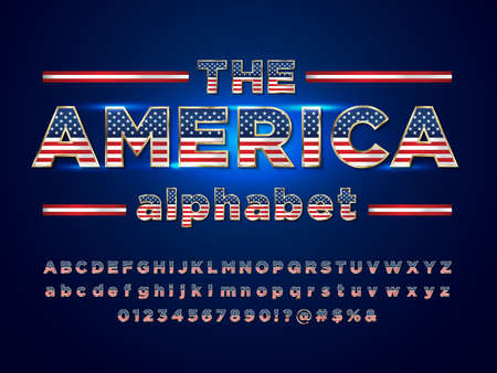 America flag style alphabet design with uppercase, lowercase, numbers and symbols