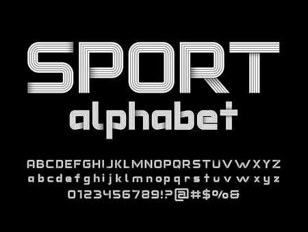 Modern stylised alphabet design with uppercase, lowercase, numbers and symbol