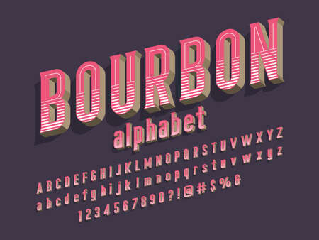 3D vintage styled alphabet design with uppercase, lowercase, numbers and symbols
