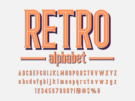 vintage styled alphabet design with uppercase, lowercase, numbers and symbols 矢量图像