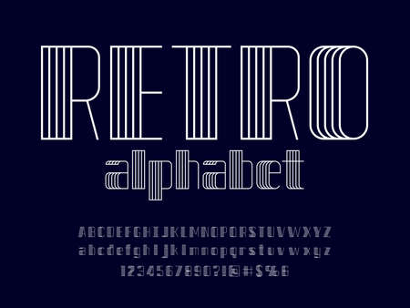 Modern abstract alphabet design with uppercase, lowercase, numbers and symbol 矢量图像