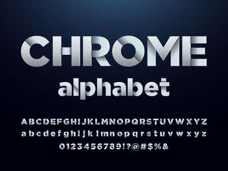 Vector of modern metallic bold alphabet design 矢量图像