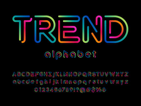 Colorful trendy style alphabet design with uppercase, lowercase, numbers and symbols