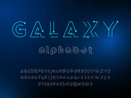 Sci-fi abstract futuristic alphabet design with uppercase, lowercase, numbers and symbols