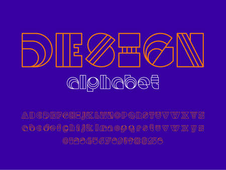 Modern abstract alphabet design with uppercase, lowercase, numbers and symbol Ilustrace