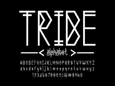 vector of tribe style alphabet design with uppercase, lowercase, number and symbols