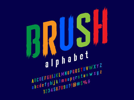 Vector of stylized paintbrush alphabet design with uppercase, lowercase, numbers and symbols