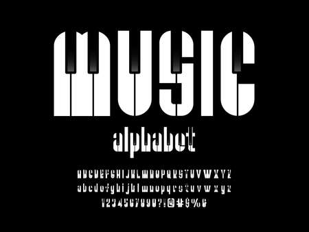 vector of music piano font and alphabet design Ilustrace