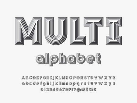 multiple layered style alphabet design with uppercase, lowercase, numbers and symbol