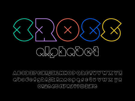 Modern abstract alphabet design with uppercase, lowercase, numbers and symbols