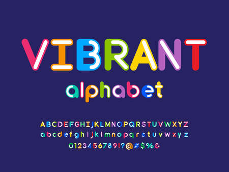 Colorful style alphabet design with uppercase, lowercase, number and symbols