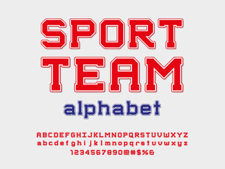 sports style alphabet design with uppercase, lowercase, numbers and symbols