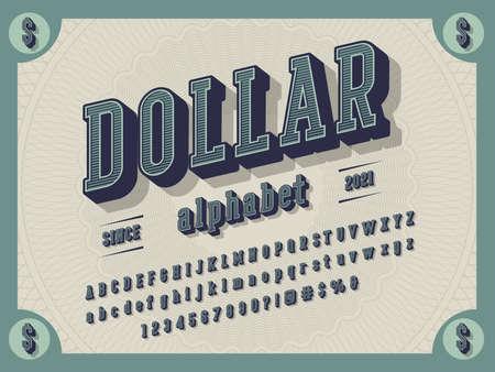 3D retro money alphabet design with decorative elements