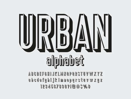 Modern stencil alphabet design with uppercase, lowercase, numbers and symbols Ilustrace