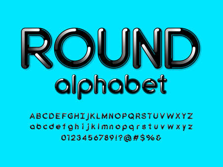 Modern style alphabet design with uppercase, lowercase, numbers and symbols