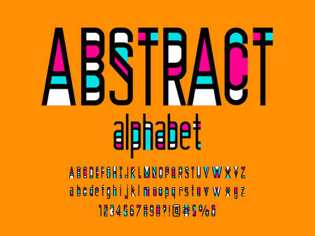Vector of stylized modern abstract alphabet design with uppercase, lowercase, numbers and symbols Ilustrace