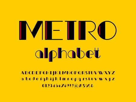Modern stylized alphabet design with uppercase, lowercase, numbers and symbol Ilustrace