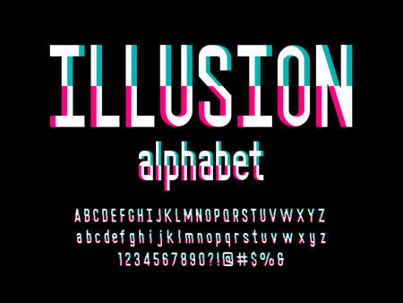 Vector of optical illusion alphabet design with uppercase, lowercase, numbers and symbols