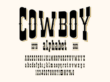 Vintage wild west western alphabet design with uppercase, lowercase, numbers and symbols