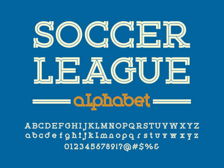 Modern sport style alphabet design with uppercase, lowercase, numbers and symbols Ilustrace
