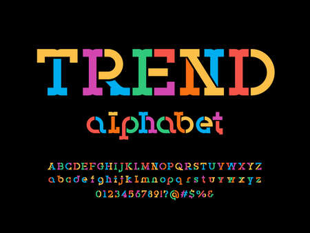 stencil style alphabet design with uppercase, lowercase, numbers and symbols