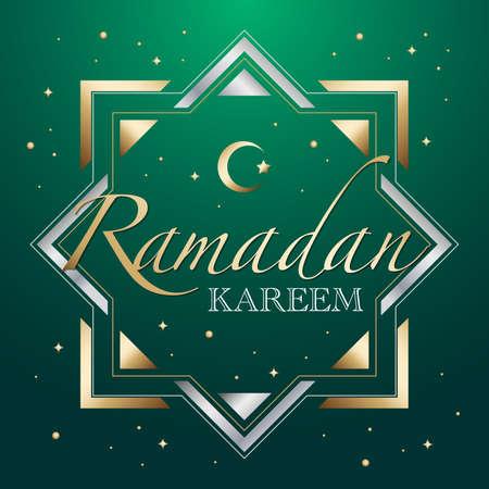 Hari Raya greeting template with contemporary islamic graphic elements. Ramadan Kareem means Ramadan the Generous Month. Ilustração