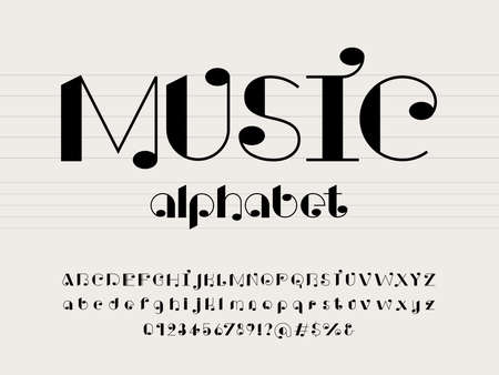 vector of music note font and alphabet design with uppercase, lowercase, numbers and symbols Ilustração