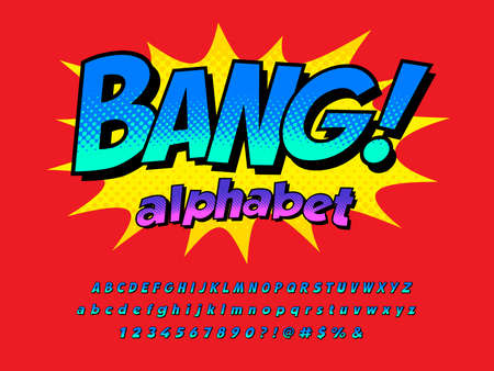 Comical style vector font design with uppercase, lowercase, numbers and symbols