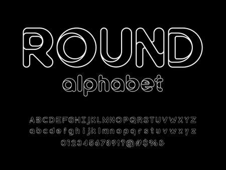 Modern stylized alphabet design with uppercase, lowercase, numbers and symbol  イラスト・ベクター素材