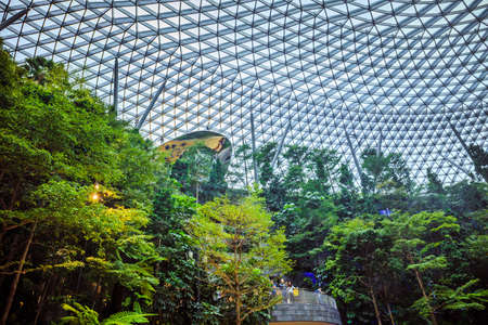 Singapore - July 24, 2019: The world's tallest indoor waterfall, named the Rain Vortex, which is surrounded by a terraced forest setting at Jewel Changi Airport, Singapore.