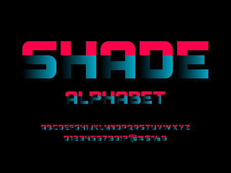 Vector of modern bold shadow display alphabet design with uppercase, numbers and symbols