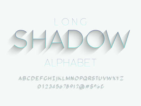 Modern gradient with long shadow style alphabet design with uppercase, numbers and symbols Иллюстрация