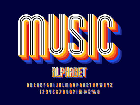 80's retro style alphabet design with uppercase, lowercase, numbers and symbols
