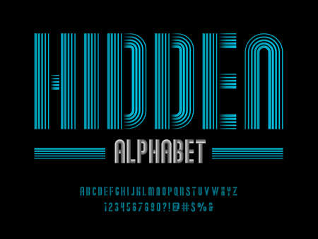 modern multiple line style alphabet design with uppercase, numbers and symbols