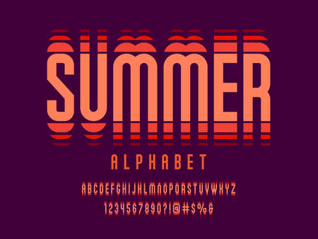 contemporary style alphabet design with uppercase, numbers and symbols Иллюстрация