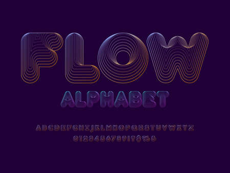 wavy abstract alphabet design with uppercase, numbers and symbols Иллюстрация
