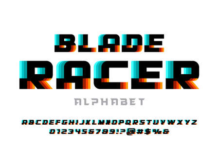 Speed style alphabet design with uppercase, numbers and symbol