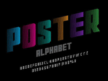 halftone dotted style alphabet design with uppercase, numbers and symbols Иллюстрация