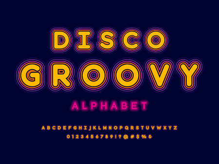 A groovy hippie retro style alphabet design with uppercase, numbers and symbols