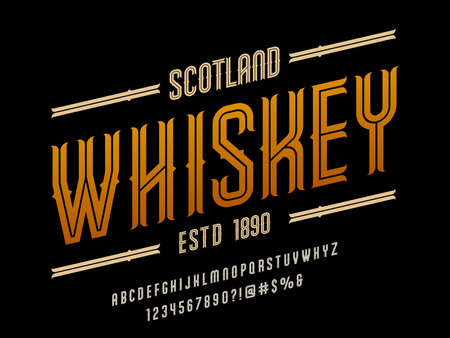Vintage whiskey and bourbon label style alphabet design with uppercase, numbers and symbols
