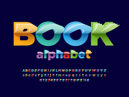 Paper flip style alphabet design with uppercase, lowercase, numbers and symbols