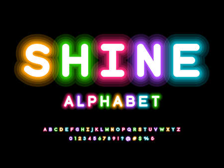 Glowing neon light alphabet design with uppercase, numbers and symbol